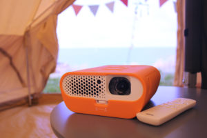 BenQ GS1 Camping Proejctor in our tent