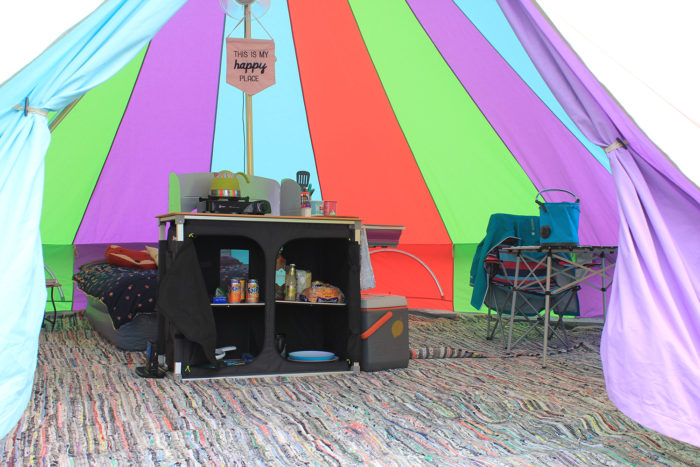 Inside our 6m Rainbow Bell Tent from Boutique Camping
