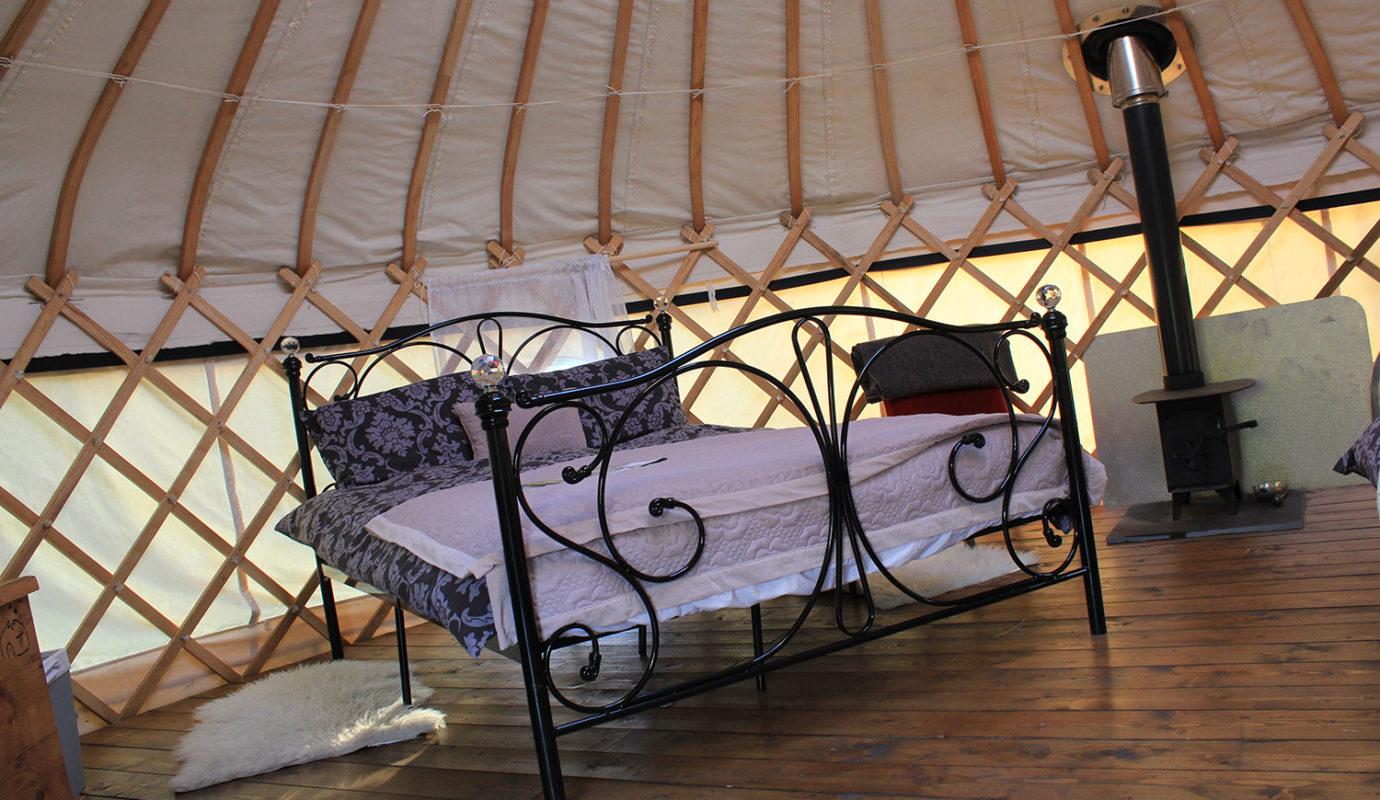 Inside the Red Kite Yurt at Cledan Valley, Powys